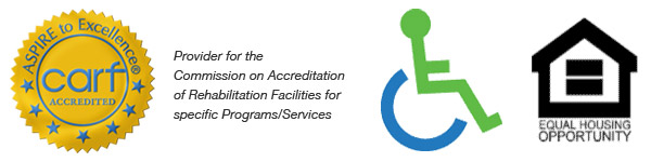 CARF Accreditation Logo; Wheelchair access Logo; Equal Opportunity Housing Logo