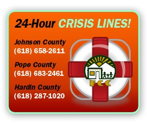24-hour Crisis Hotline — Johnson County: 618-658-2611; Pope County: 618-683-2461; Johnson County: 618-287-1020