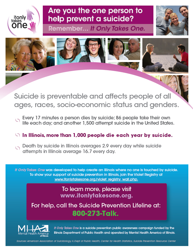 Are you the one person to prevent a suicide? It only takes one... Learn more! Visit: http://www.itonlytakesone.org/