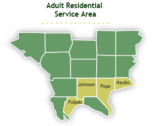FCC Adult Residential Service Area Map: Johnson, Pulaski, Pope and Hardin counties in Illinois