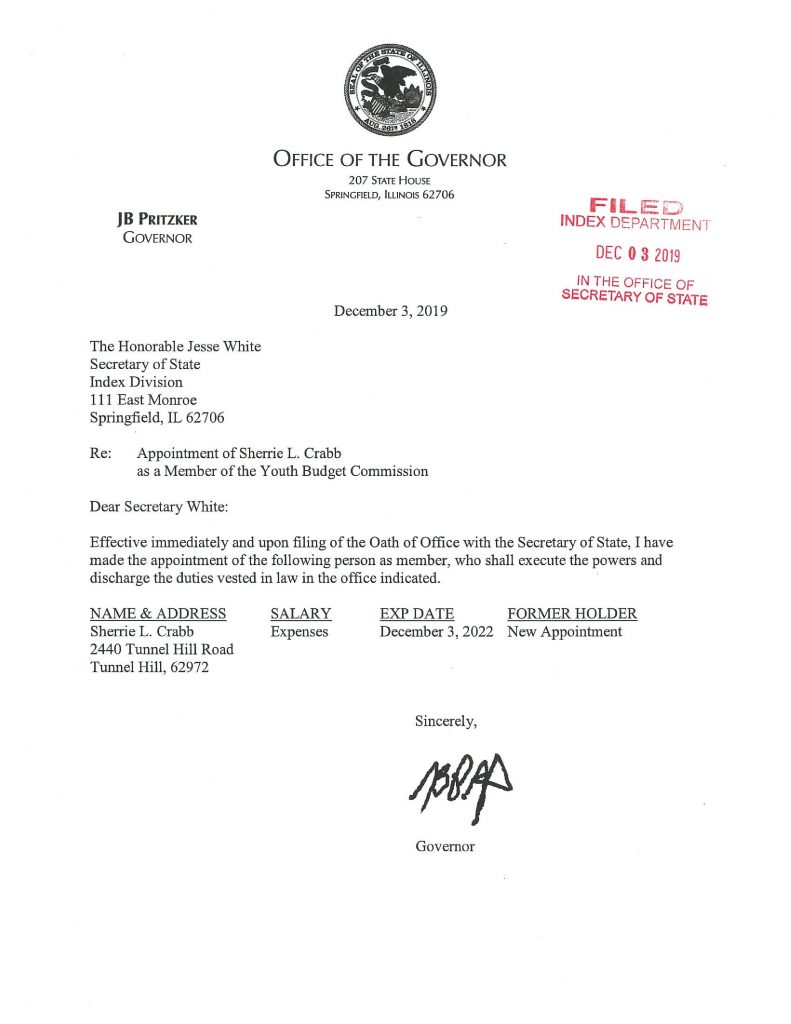 Sherrie L. Crabb Filed Appointment Letter